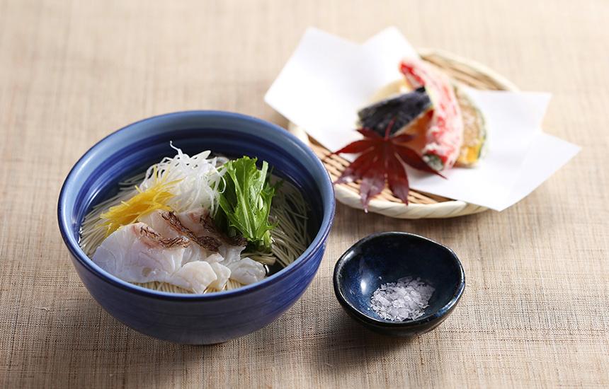 鯛にゅう麺と野菜天婦羅 粋旬